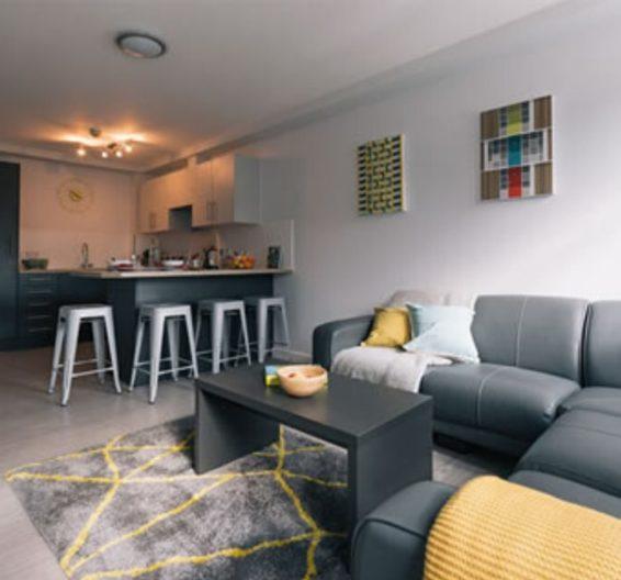 غرفة المعيشة في سكن الطلاب في Manchester Wilmslow Park