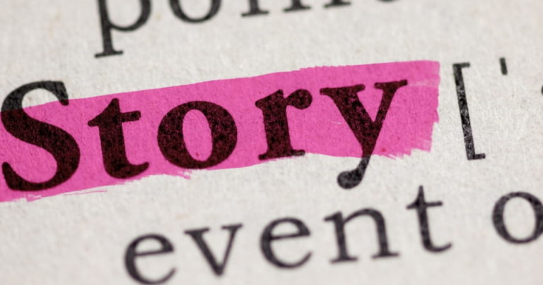 The word 'story' highlighted in pink in the dictionary