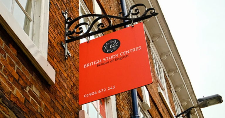 View from below of the sign outside BSC York