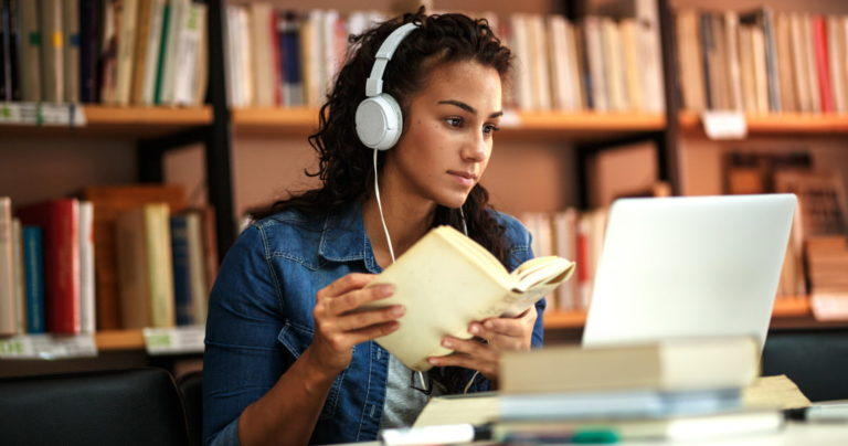 Women listening to music and studying