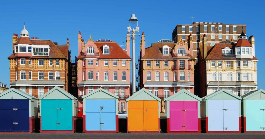 View of Brighton beach huts