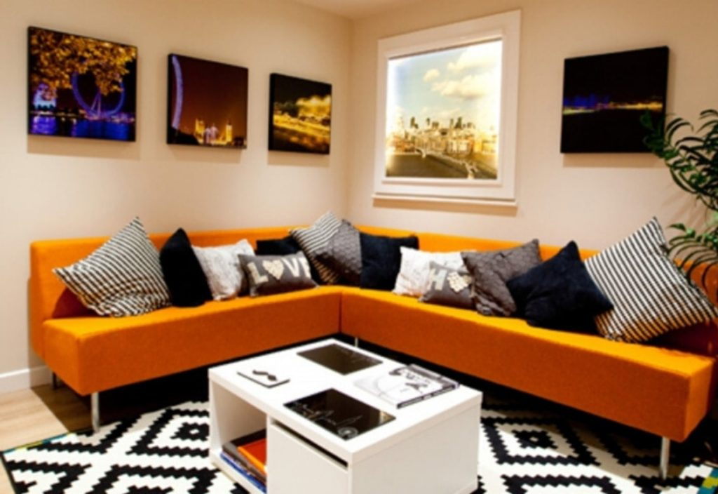 Bright and colourful room with a sofa and coffee table at accommodation for students