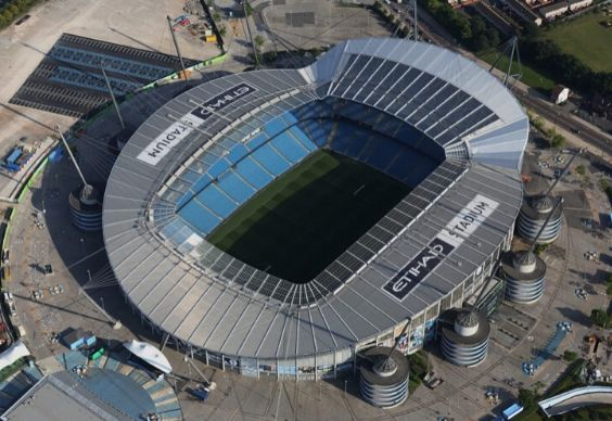 Aerial view of the Etihad Stadium, home of Manchester City