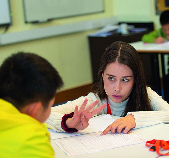 Ampleforth classroom teacher and student