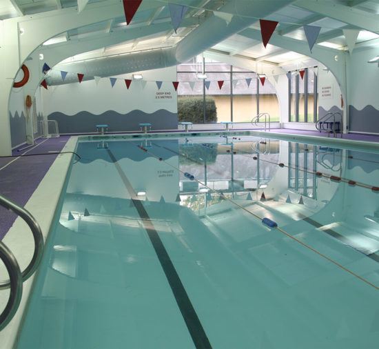 The indoor swimming pool at Wycliffe College summer school