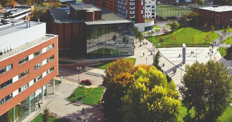 Aerial view of Aston University