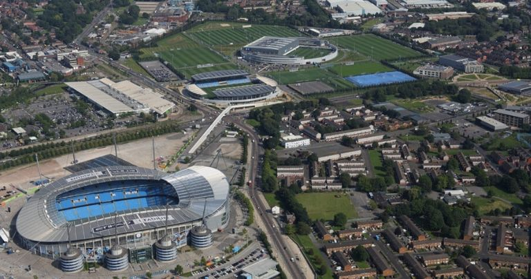 Aerial view of Manchester City Academy and Etihad Stadium