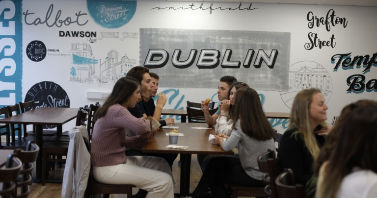 International students in Dublin language school cafe