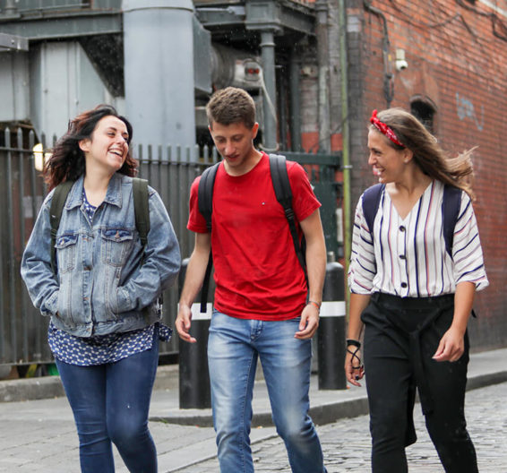 BSC Dublin students walking through the Temple Bar district