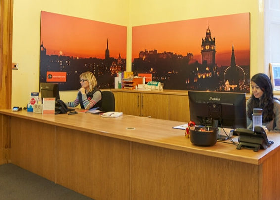 Reception desk at BSC Edinburgh