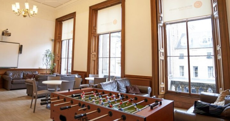 Student lounge in BSC Edinburgh with fussball table
