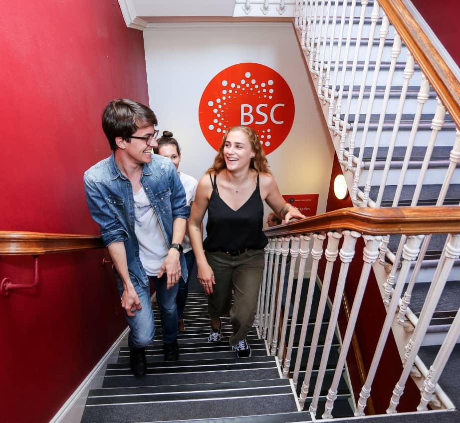 Students on a staircase at BSC Edinburgh