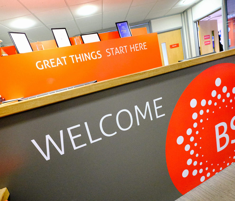 Reception desk at BSC Oxford