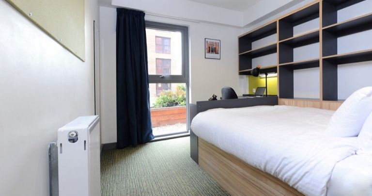 A bedroom at the student accommodation
