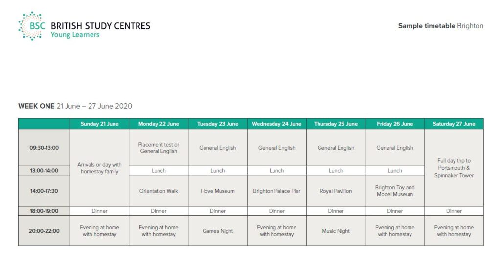 Example Weekly Programme BSC Brighton Young Learners