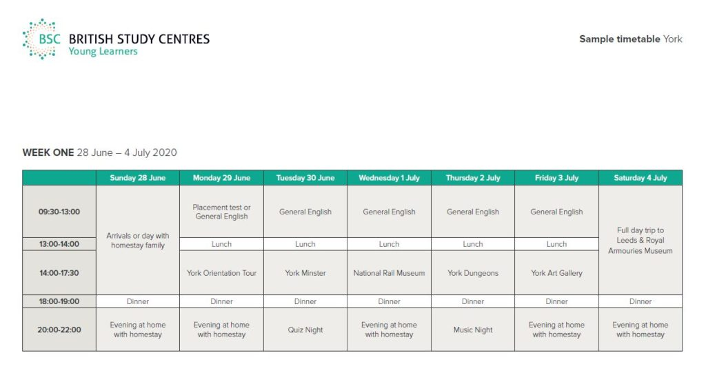 Example Weekly Programme for Young Learners at BSC York