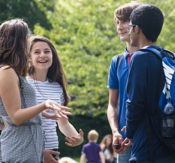 Four teenage students are standing in a leafy park, talking