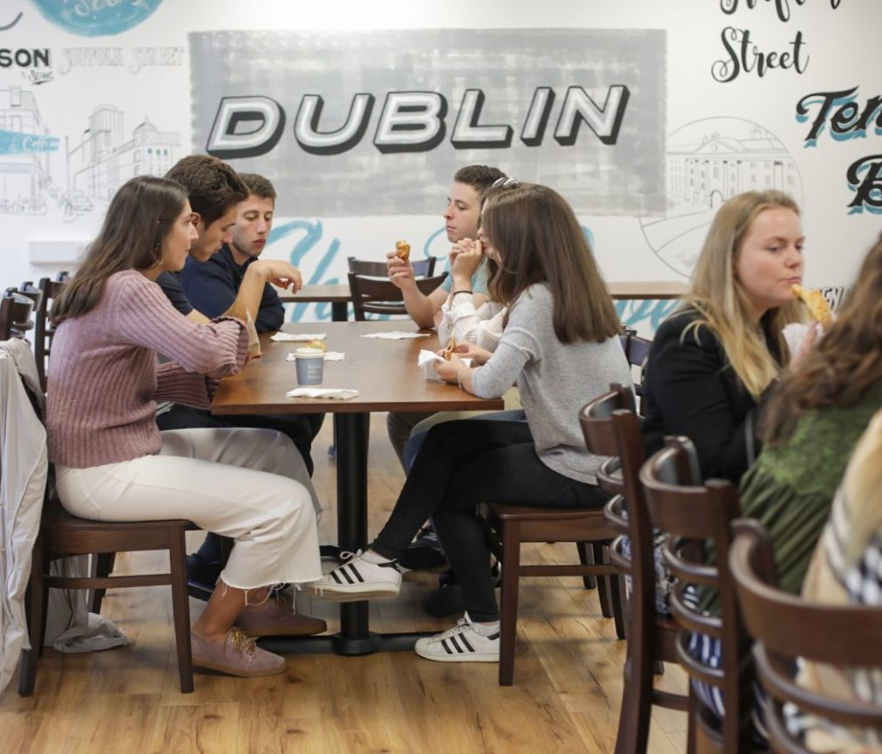 students relaxing in the cafe at BSC Dublin