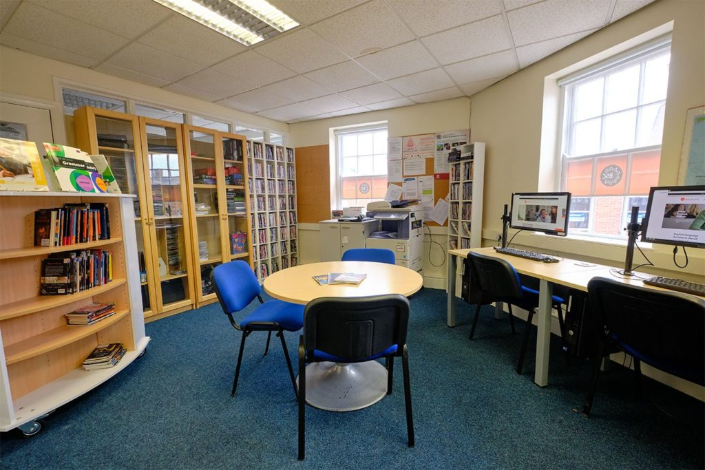 Student resource centre at BSC York with books and computers