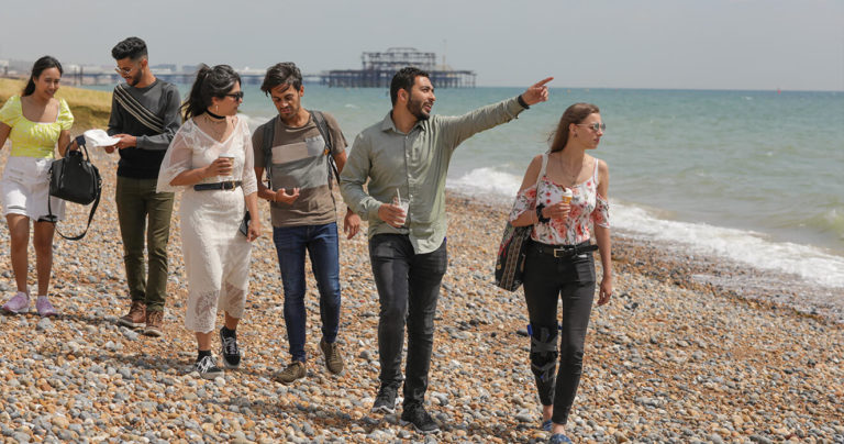 A group of students walk along Brighton beach, pointing out to sea