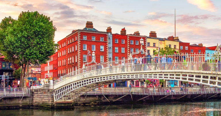 Ha'penny Bridge over the River Liffey in Dublin
