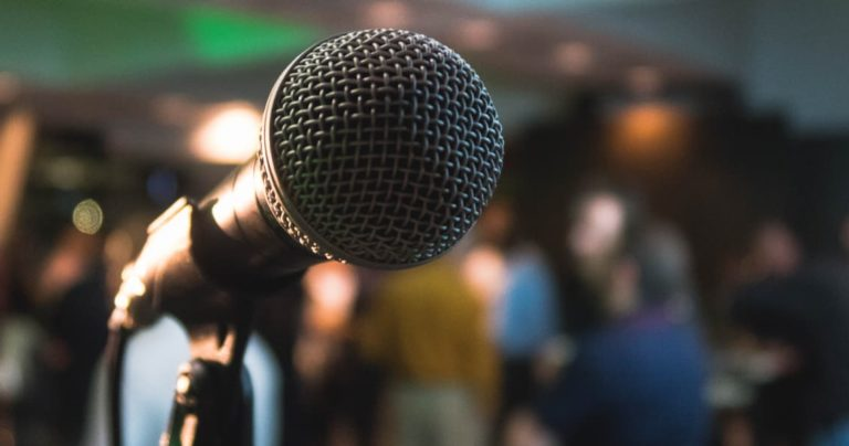 selective focus picture of microphone