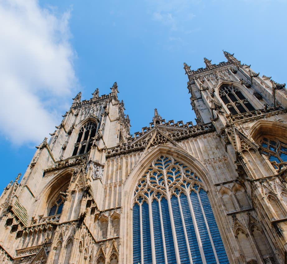 View from below of York Minster