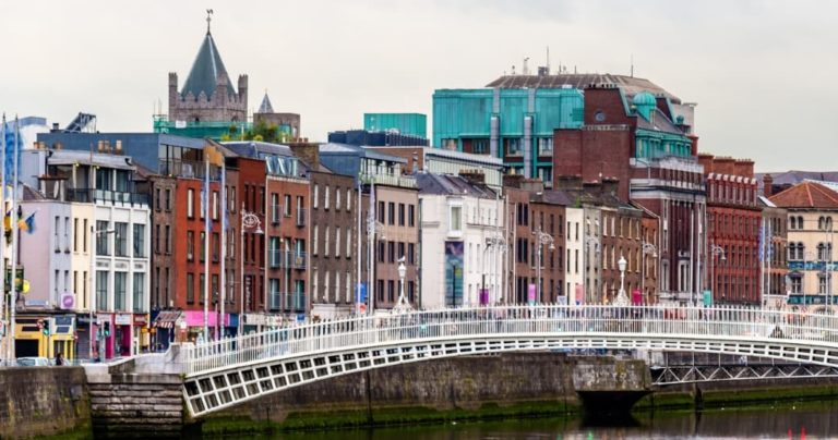 view of dublin from hapenny bridge