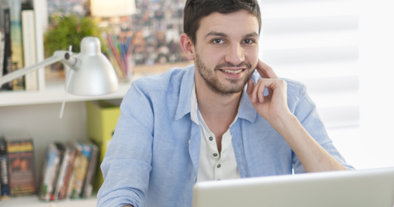 Man learning English online from home