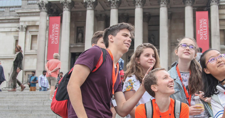 A group of BSC Young Learners taking a selfie outside the National Gallery, London