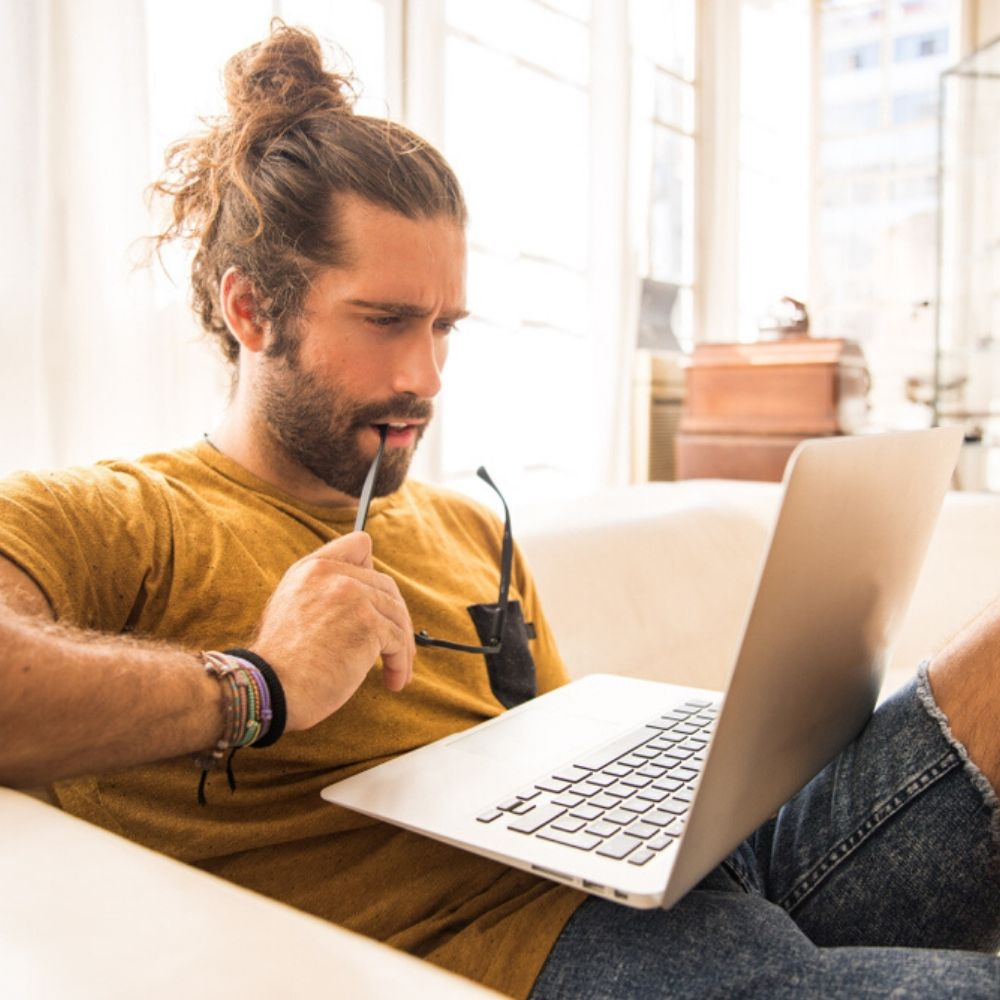 Man improves his career skills online