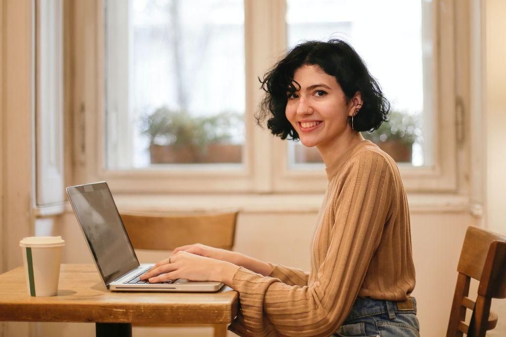 woman at laptop at home
