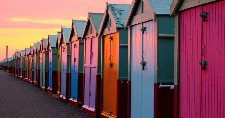 Brighton beach huts at sunset