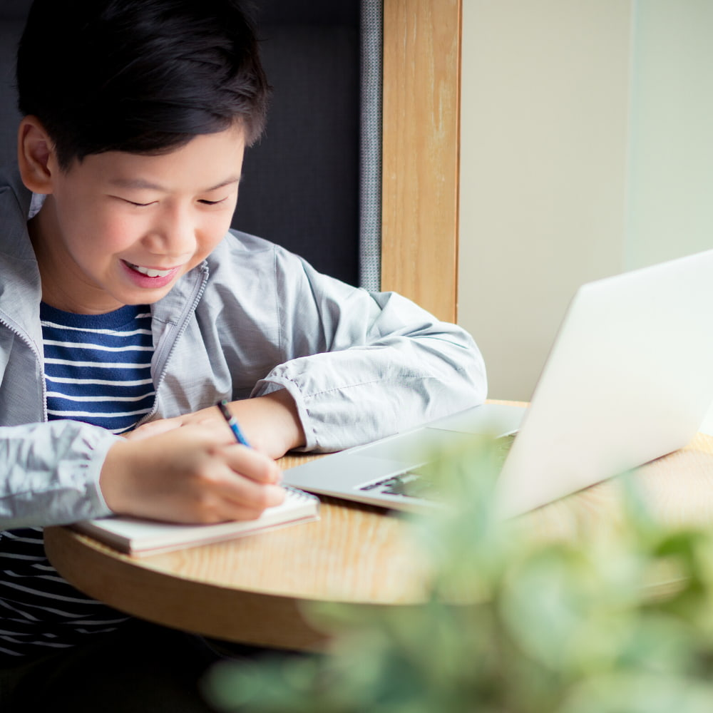 Young Boy studying at table with laptop