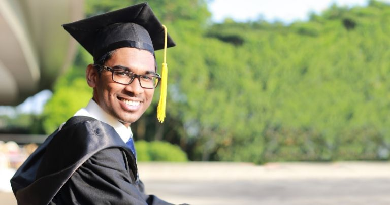 Man in graduation hat
