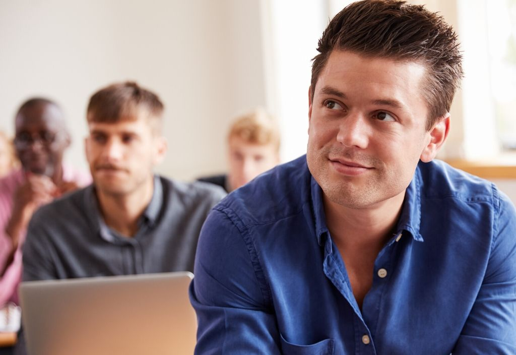 Man on training course for career