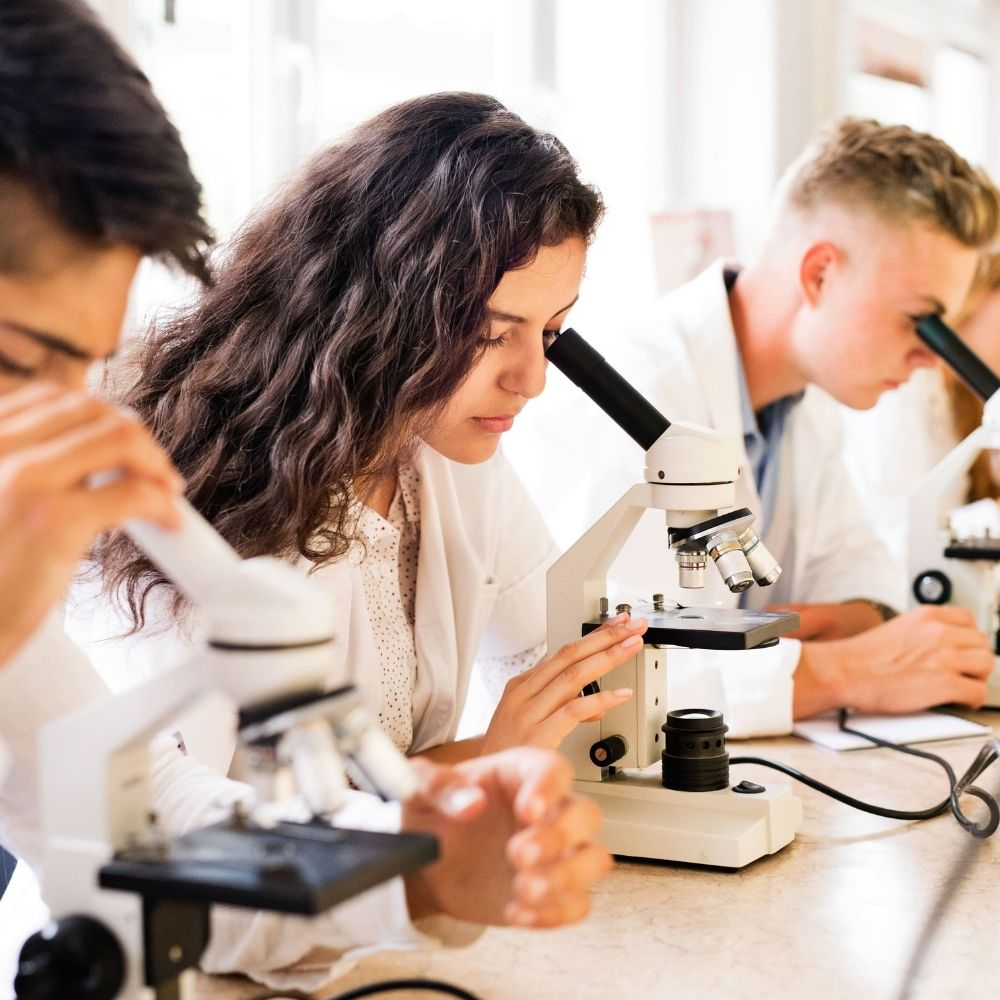 Three students on an English plus STEM course with microscopes