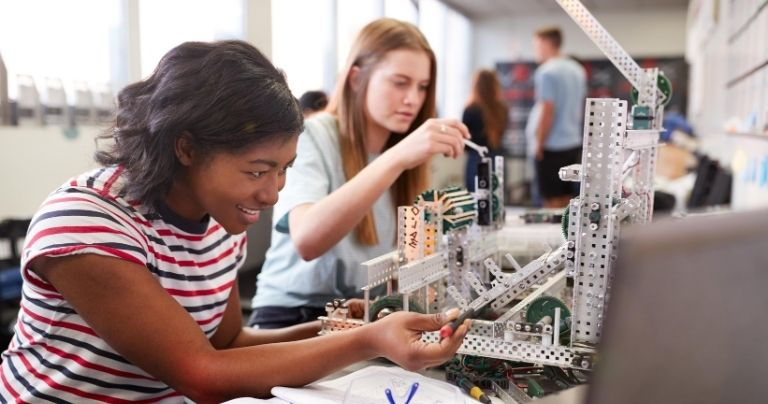 Two young students on STEM course