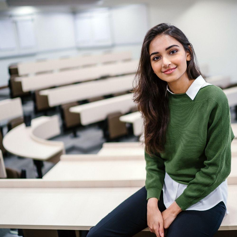 girl in university study hall