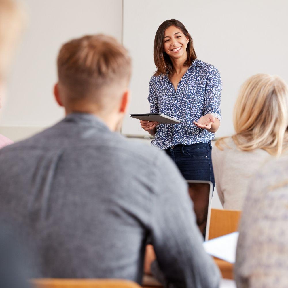 woman teaching in class
