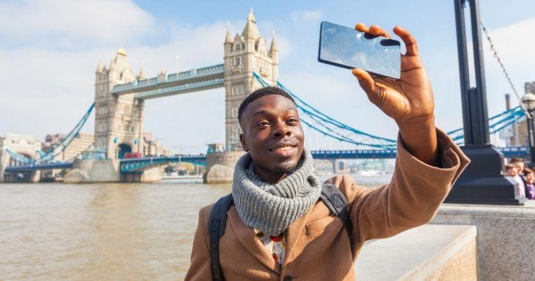 Man taking selfie in London