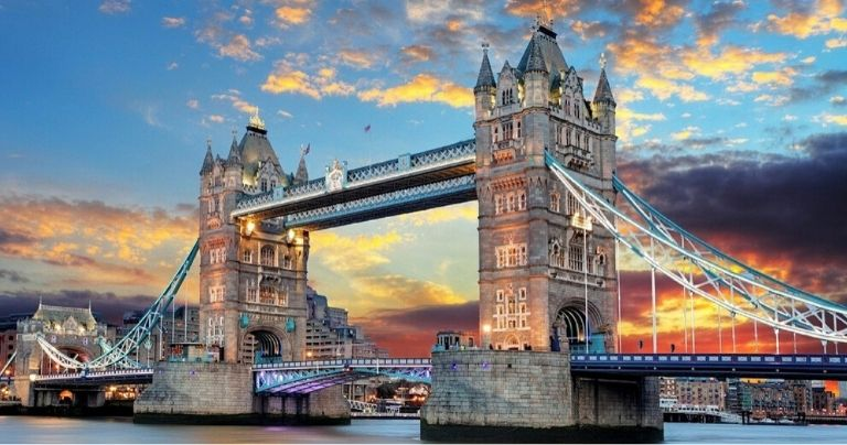 Sunset view of Tower Bridge in London