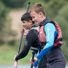 Students in a water sports class