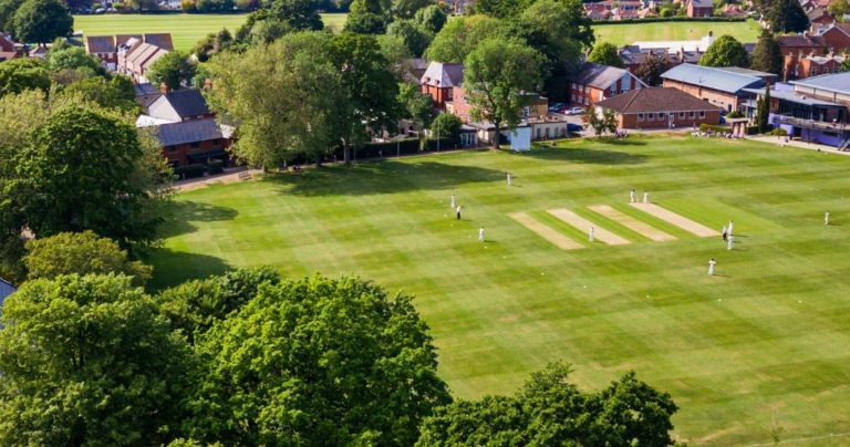 Aerial view of the sports field at Wycliffe College