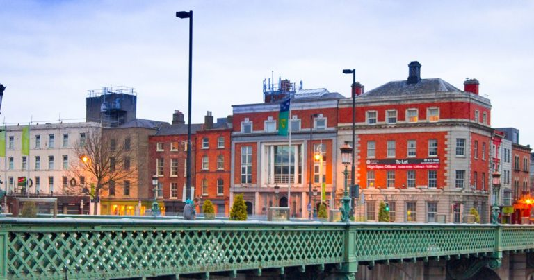 Buildings along the River LIffey in Dublin
