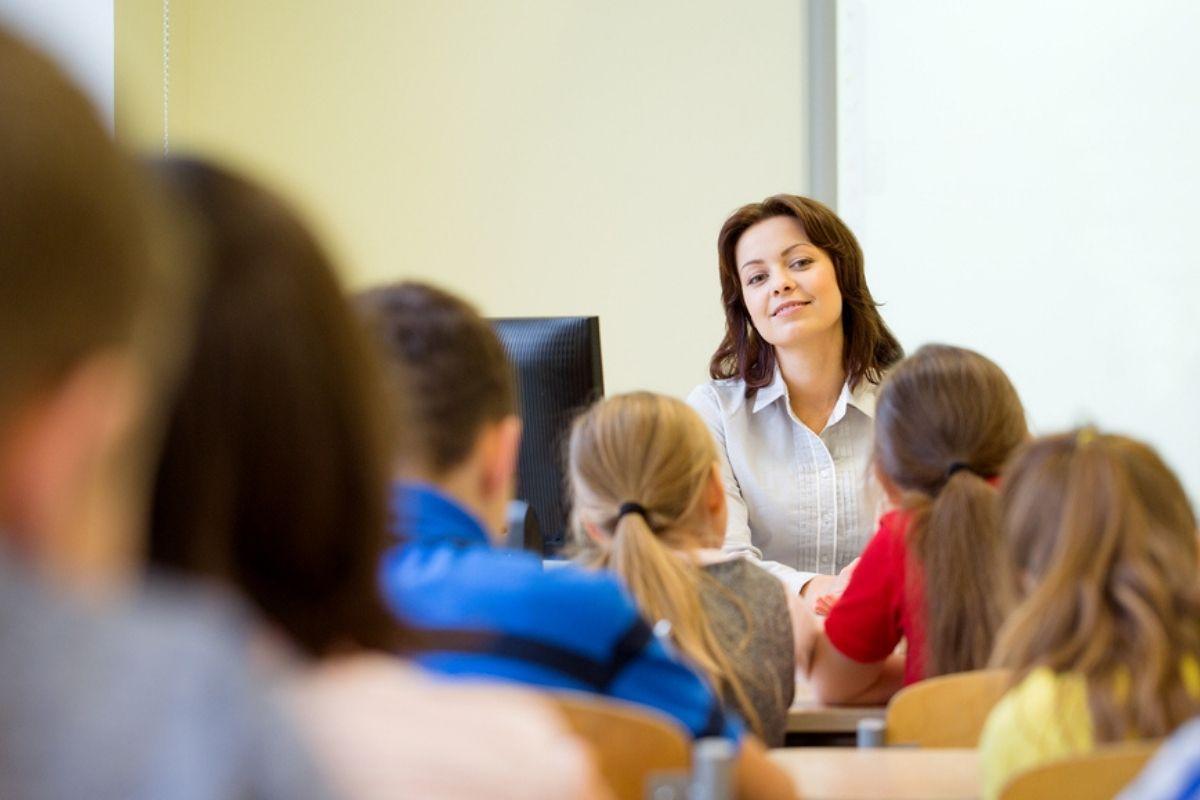 Teacher in a classroom teaching children English