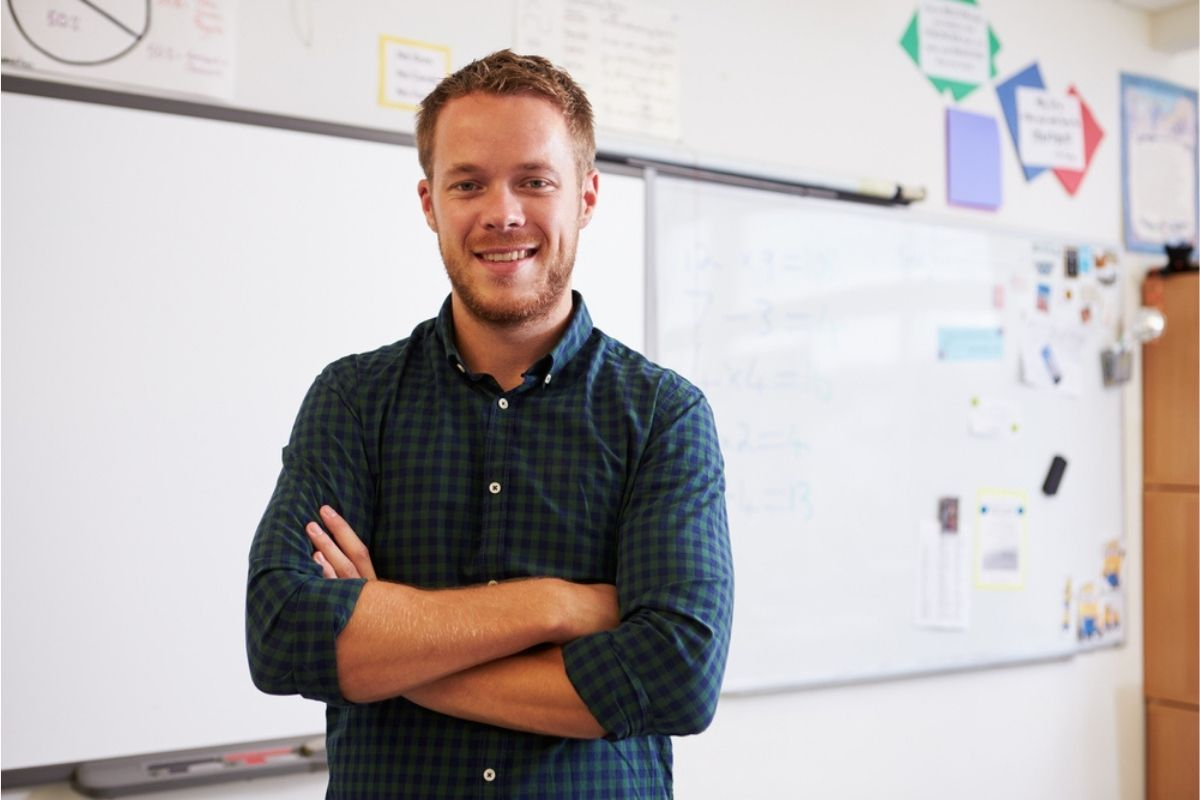 Man in classroom after TEFL course