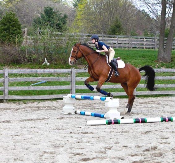 imagem de uma jovem andando a cavalo