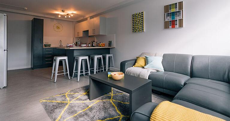 Жилая студенческая комната с диваном и кофейным столиком