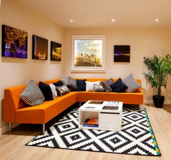 Sala de estar de la residencia de estudiantes Liberty Plaza de Londres